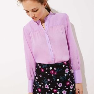 NEW Shirred Puff Sleeve Blouse  LOFT Butto…